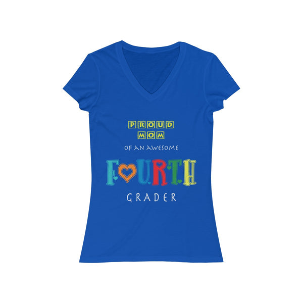 Proud Mom of Awesome Fourth Grader Womens Slim Fit V-Neck T-Shirt
