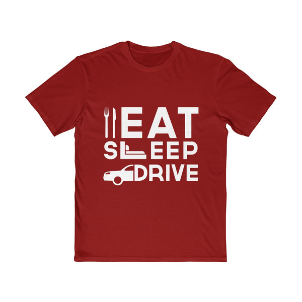 Eat Sleep Drive Mens Semi Slim Fit T-Shirt Red
