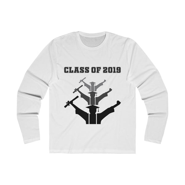 Class of 2019 Exhilitearated Grads  Men's Slim Fit Long Sleeves T-Shirt White