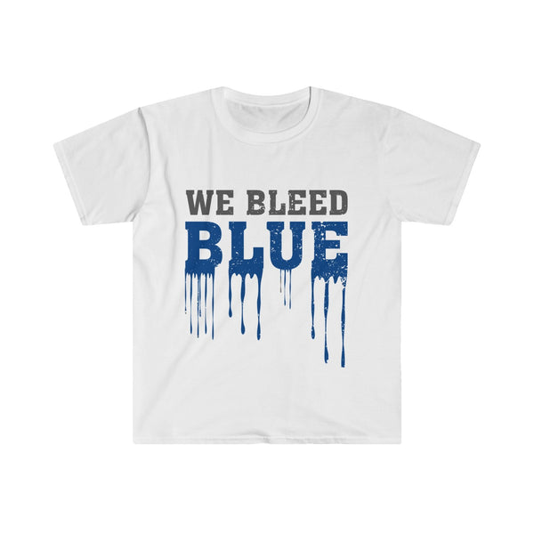 We Bleed Blue Men's Eurofit Short Sleeve T-Shirt White