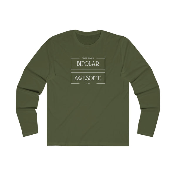 Geeky Bipolar Awesome Mens Slim Fit Long Sleeves T-Shirt Green