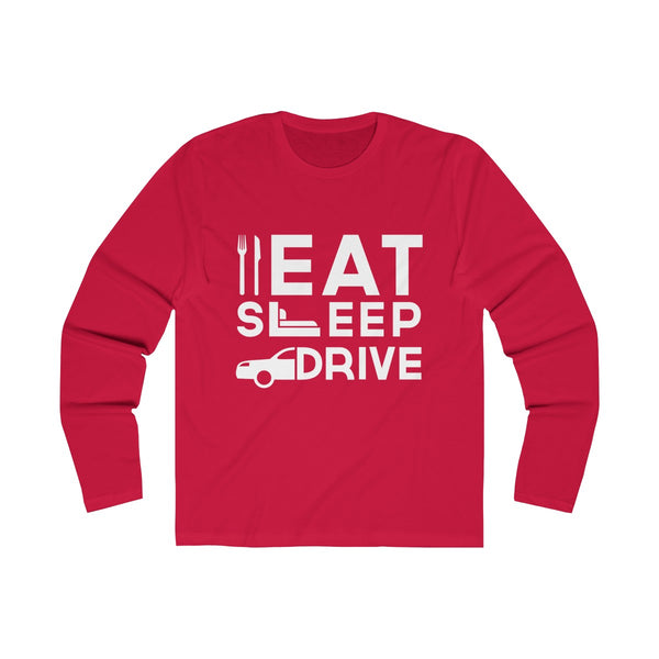 Eat Sleep Drive Mens Slim Fit Long Sleeves T-Shirt Red