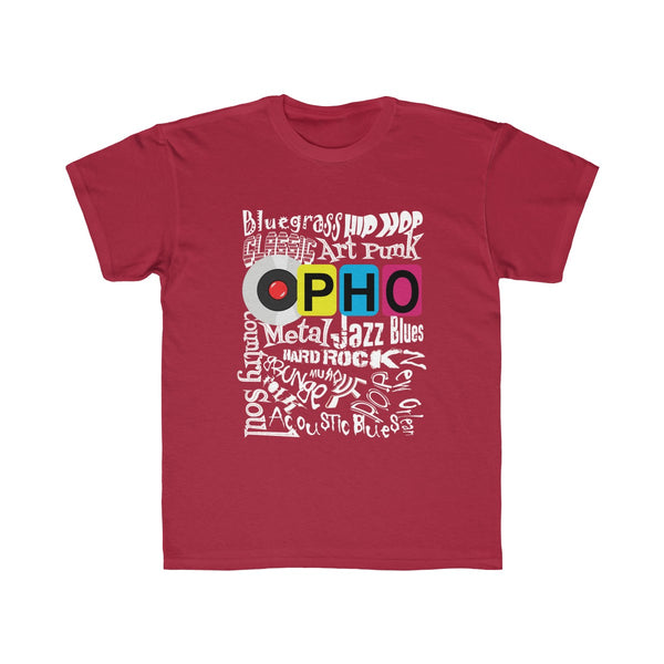 opho Music Genre Kids Regular Fit T-Shirt Red