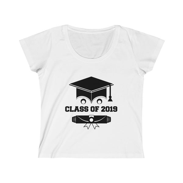 Class of 2019 Smiling Grad Hat and Scroll  Womens Slim Fit Scoop Neck T-Shirt White