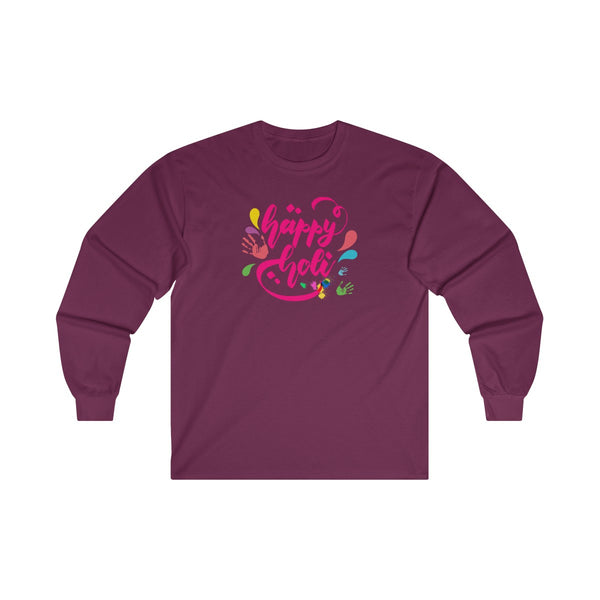 Happy Holi Mens Classic Fit Long Sleeves T-Shirt Red