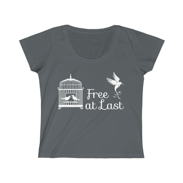 Free Bird From Cage Womens Slim Fit Scoop Neck T-Shirt Gray
