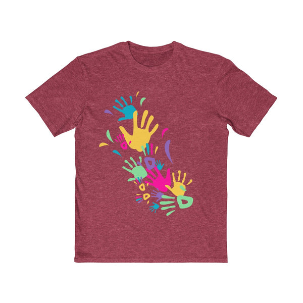 Colorful Hand Impressions Mens Semi Slim Fit T-Shirt Red