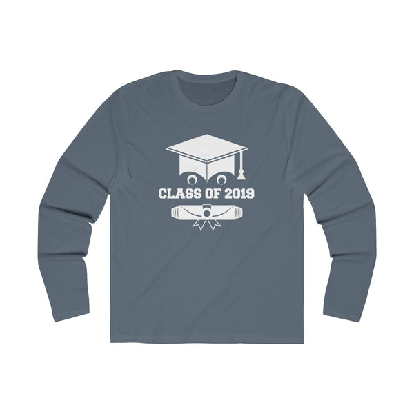 Class of 2019 Smiling Grad Hat and Scroll  Men's Slim Fit Long Sleeves T-Shirt Gray