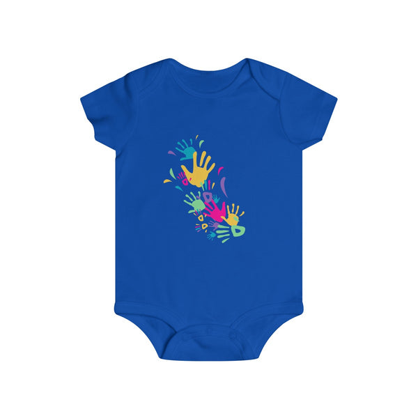 Colorful Hand Impressions Baby Onesies Blue