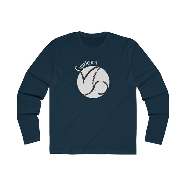 Capricorn Zodiac Mens Slim Fit Long Sleeves T-Shirt Navy