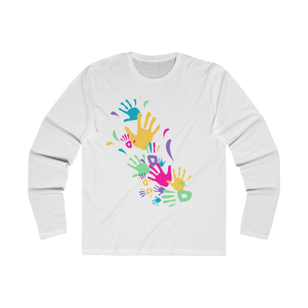 Colorful Hand Impressions Mens Slim Fit Long Sleeves T-Shirt White