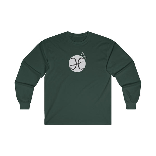 Pisces Zodiac Mens Classic Fit Long Sleeves T-Shirt Green