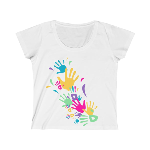 Colorful Hand Impressions Womens Slim Fit Scoop Neck T-Shirt White