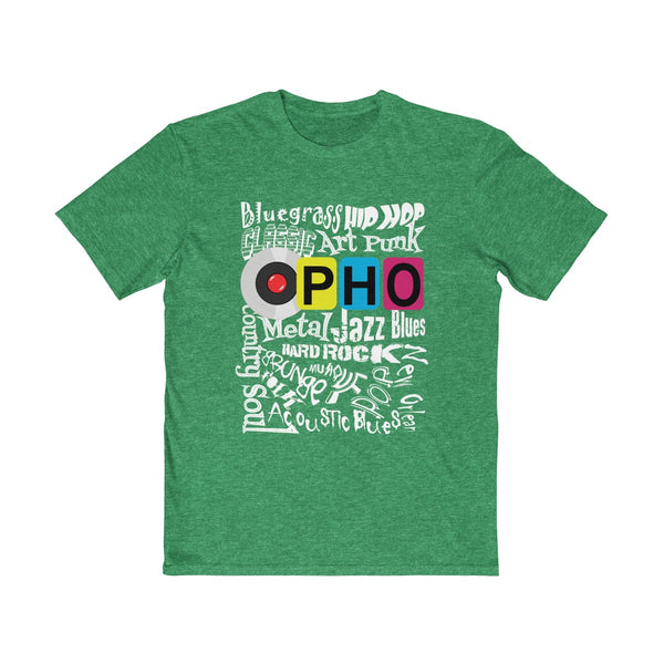 opho Music Genre Mens Semi Slim Fit T-Shirt Green