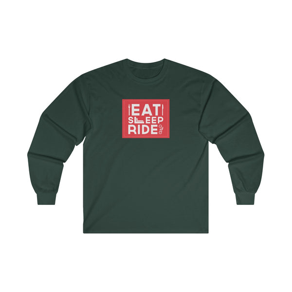 Eat Sleep Ride Mens Classic Fit Long Sleeves T-Shirt Green