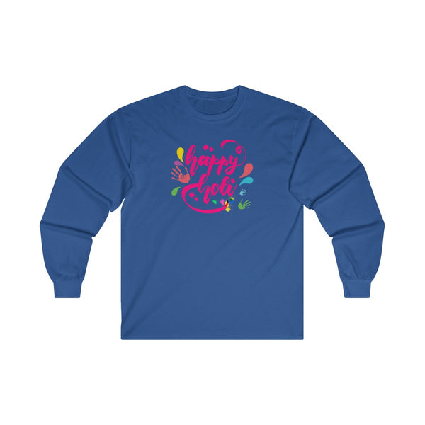 Happy Holi Mens Classic Fit Long Sleeves T-Shirt Blue