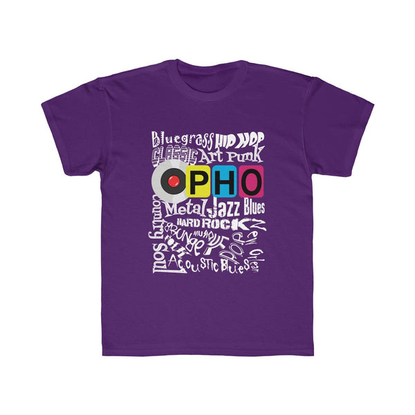 opho Music Genre Kids Regular Fit T-Shirt Purple