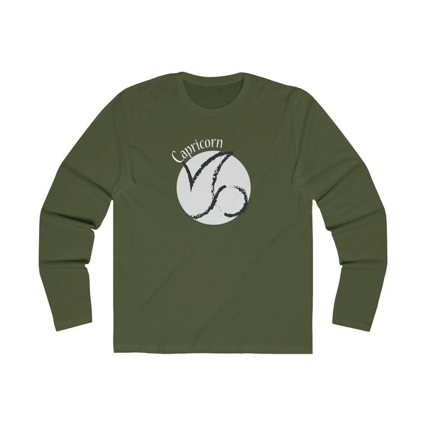 Capricorn Zodiac Mens Slim Fit Long Sleeves T-Shirt Green