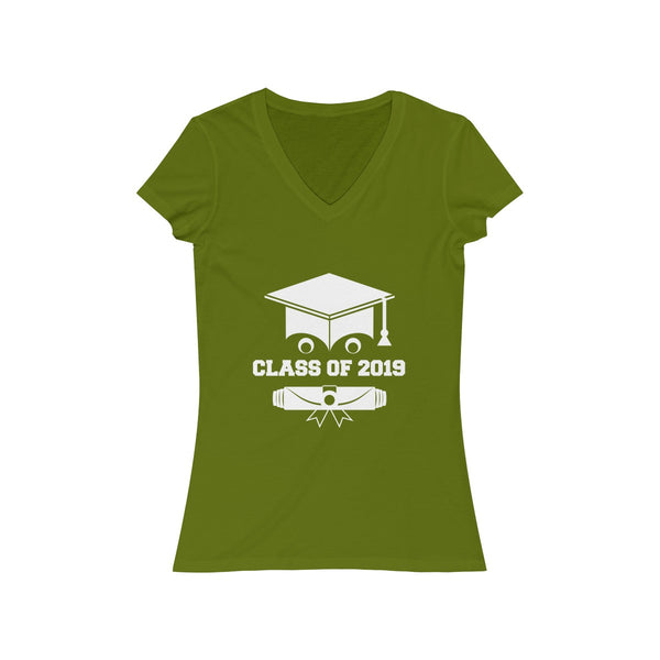 Class of 2019 Smiling Grad Hat and Scroll  Womens Slim Fit V-Neck T-Shirt Green