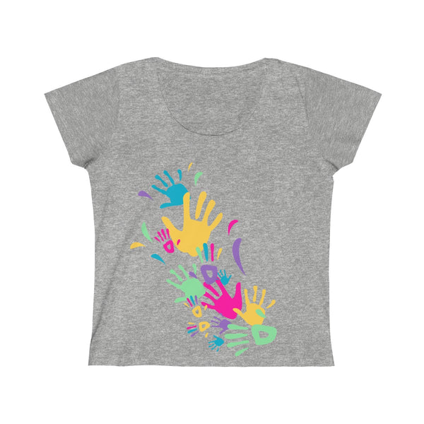 Colorful Hand Impressions Womens Slim Fit Scoop Neck T-Shirt Gray