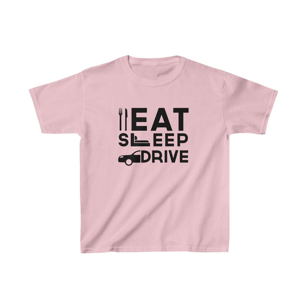 Eat Sleep Drive Kids Classic Fit T-Shirt Pink