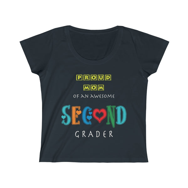 Proud Mom of Awesome Second Grader Women's Scoop Neck Tee