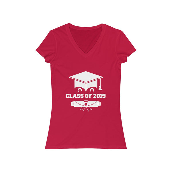 Class of 2019 Smiling Grad Hat and Scroll  Womens Slim Fit V-Neck T-Shirt Red