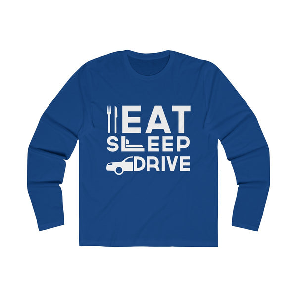 Eat Sleep Drive Mens Slim Fit Long Sleeves T-Shirt Blue
