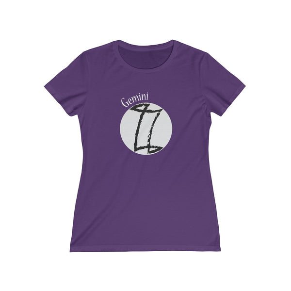 Gemini Zodiac Womens Feminine Fit T-Shirt Purple