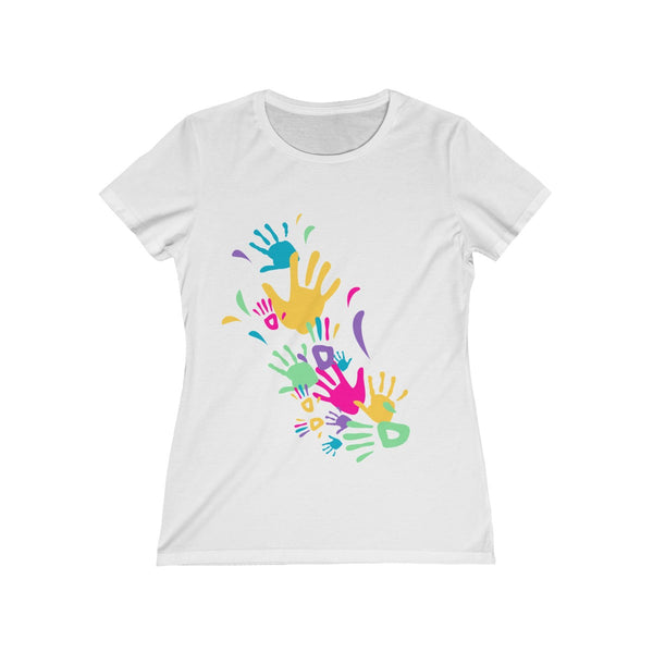Colorful Hand Impressions Womens Feminine Fit T-Shirt White