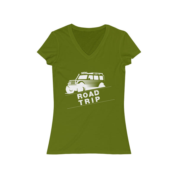 Road Trip Womens Slim Fit V-Neck T-Shirt Green