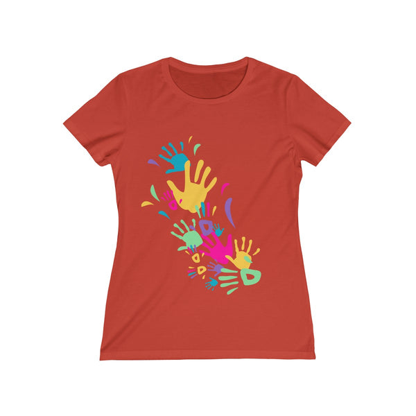 Colorful Hand Impressions Womens Feminine Fit T-Shirt Orange