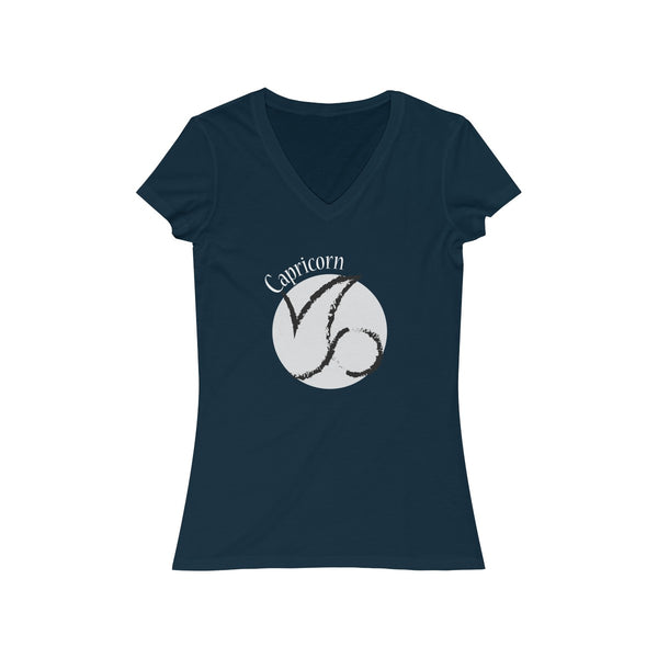 Capricorn Zodiac Womens Slim Fit V-Neck T-Shirt Navy