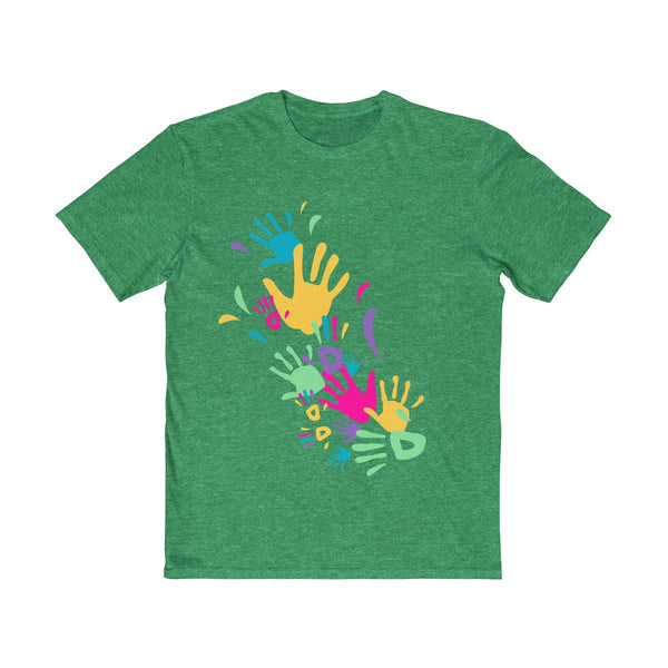 Colorful Hand Impressions Mens Semi Slim Fit T-Shirt Green