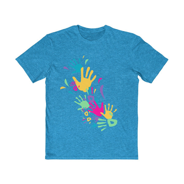 Colorful Hand Impressions Mens Semi Slim Fit T-Shirt Blue