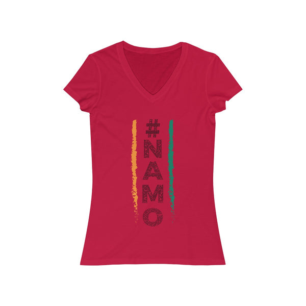 NaMo 1 Womens Slim Fit V-Neck T-Shirt Red