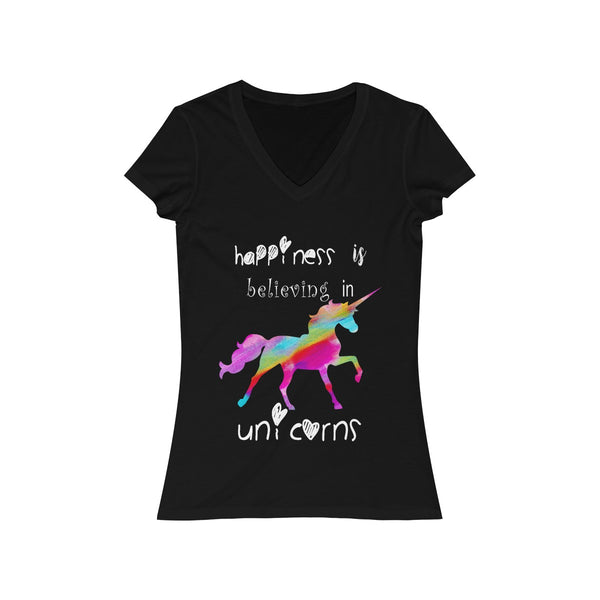 Colored Unicorn Happiness Womens Slim Fit V-Neck T-Shirt