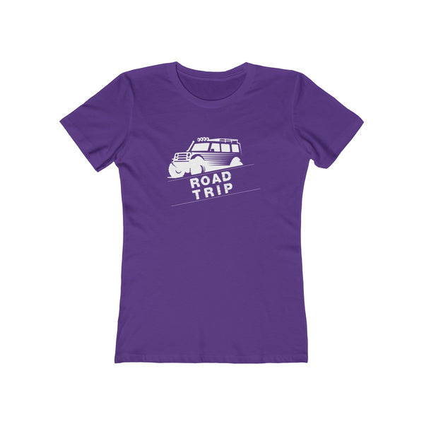 Road Trip Womens Slim Fit Longer Sleeve T-Shirt (Dark Colored) Purple