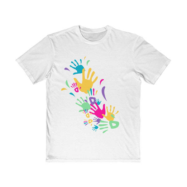 Colorful Hand Impressions Mens Semi Slim Fit T-Shirt White