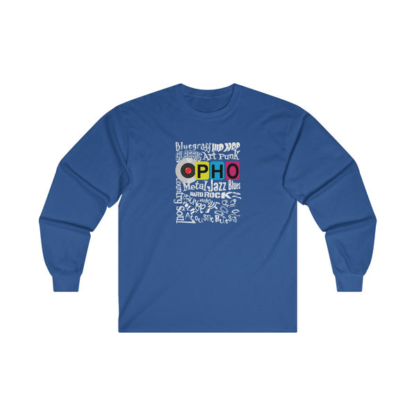 opho Music Genre Mens Classic Fit Long Sleeves T-Shirt Blue