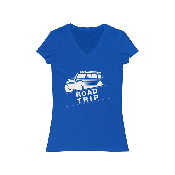 Road Trip Womens Slim Fit V-Neck T-Shirt Blue