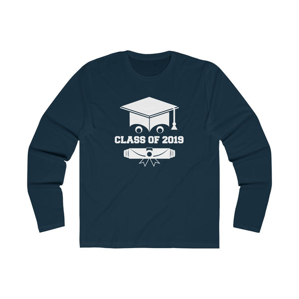 Class of 2019 Smiling Grad Hat and Scroll  Men's Slim Fit Long Sleeves T-Shirt Navy