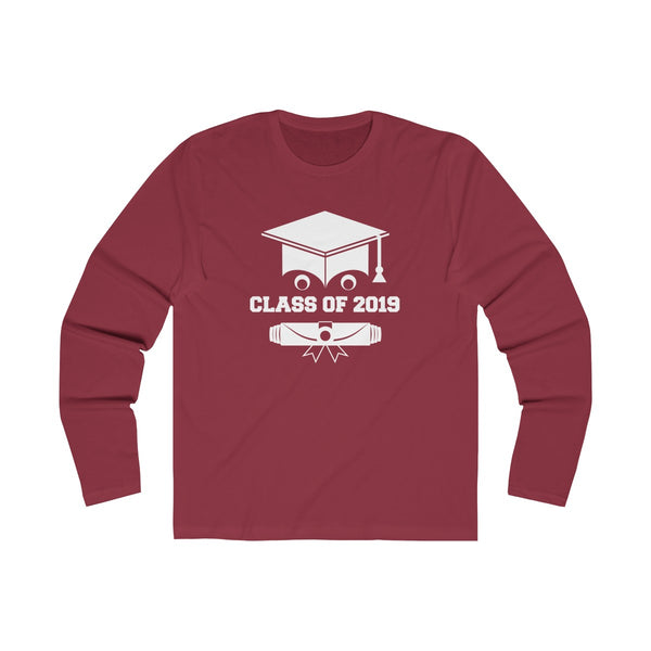 Class of 2019 Smiling Grad Hat and Scroll  Men's Slim Fit Long Sleeves T-Shirt Red