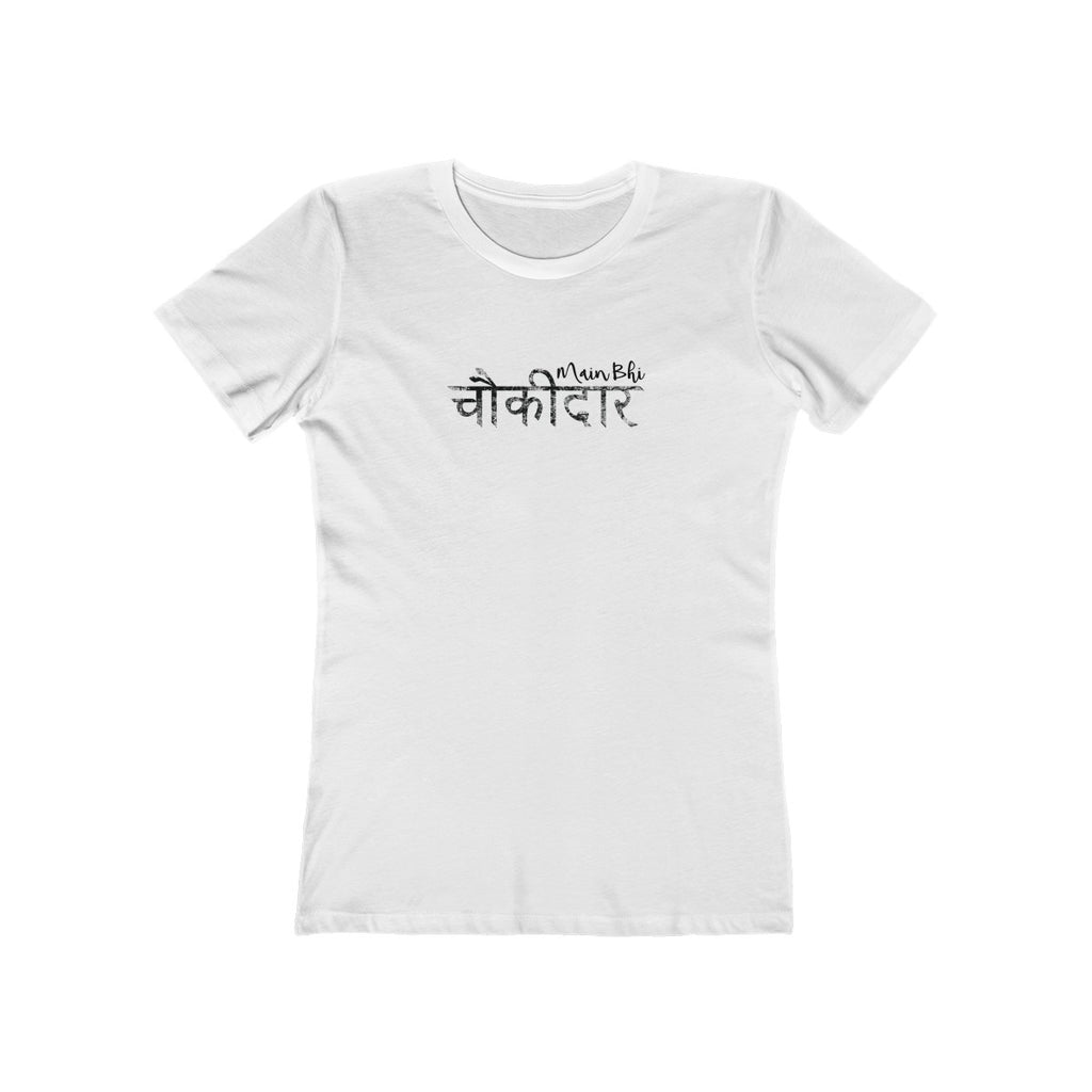 Main Bhi Chowkidar Modi Hindi Text Womens Slim Fit Longer Length T-Shirt