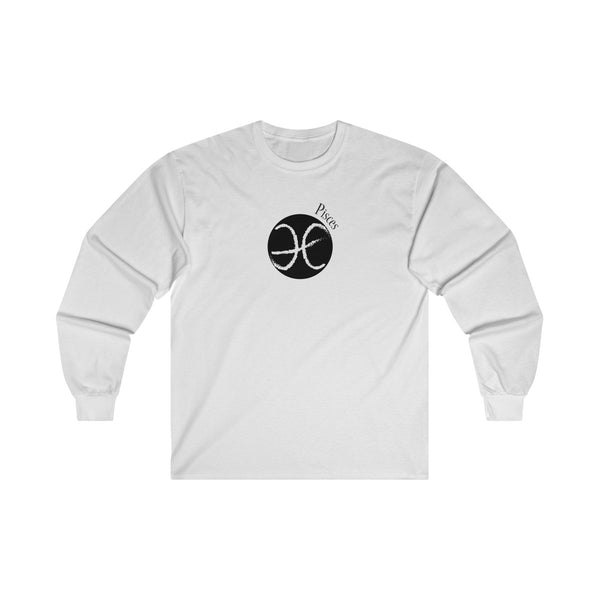 Pisces Zodiac Mens Classic Fit Long Sleeves T-Shirt White