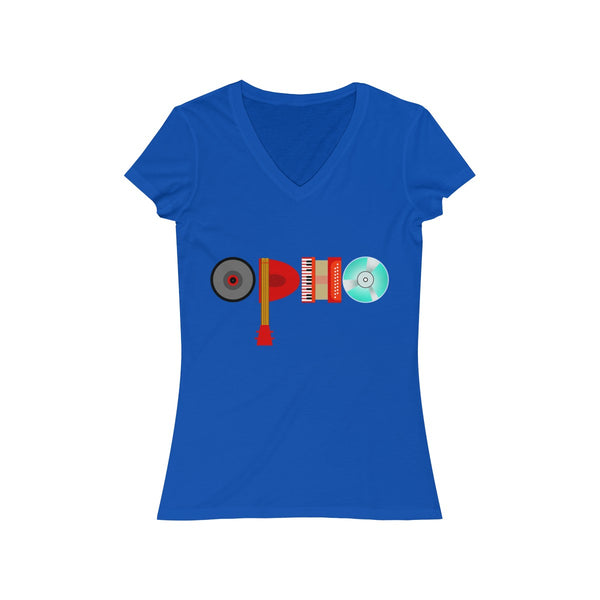 opho Musical Instruments Womens Slim Fit V-Neck T-Shirt Blue