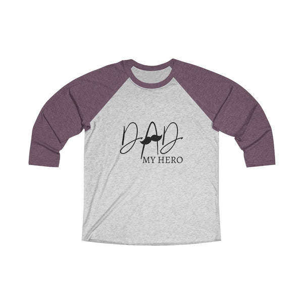 Dad My Hero With Moustache Mens Raglan T-Shirt Purple