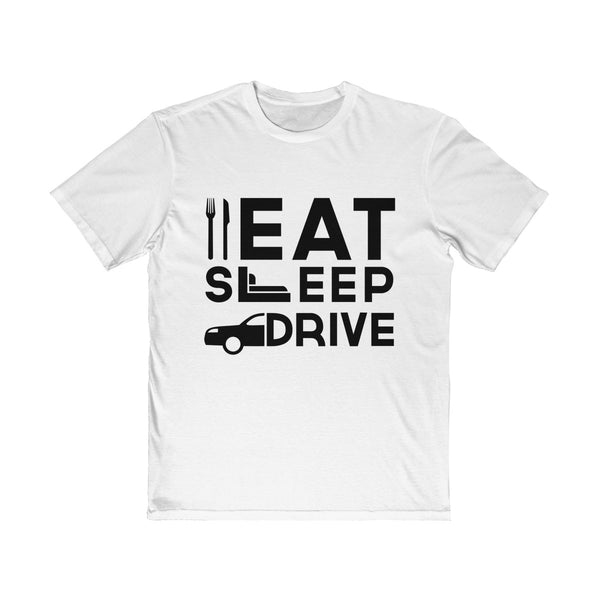 Eat Sleep Drive Mens Semi Slim Fit T-Shirt White