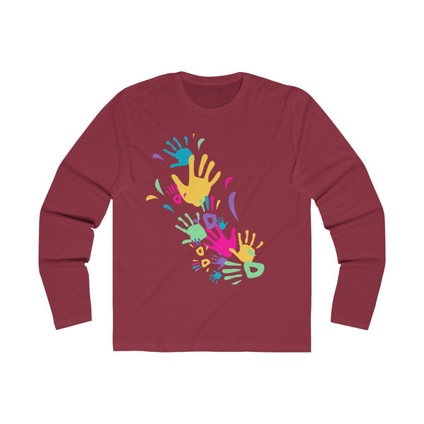 Colorful Hand Impressions Mens Slim Fit Long Sleeves T-Shirt Red