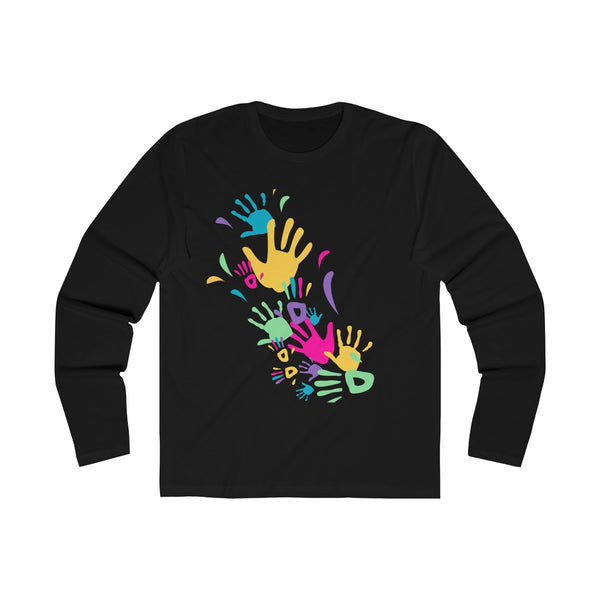 Colorful Hand Impressions Mens Slim Fit Long Sleeves T-Shirt Black
